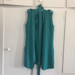 Turquoise silk dress with belt